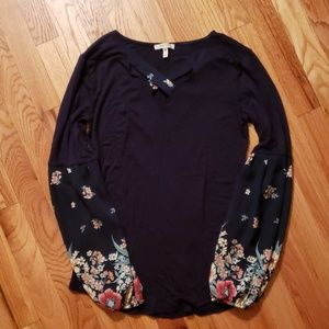 Balloon Sleeve Top with Floral Detail
